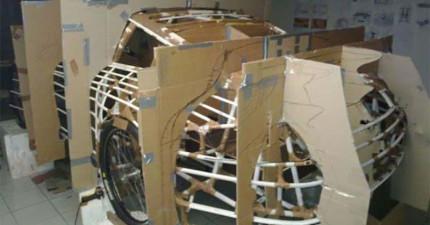 這個人用吸管和紙板做出了一台真的保時捷跑車。