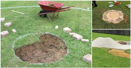 我一開始還不懂他為什麼要在庭院挖洞,但慢慢打造出的成果...根本是夢幻小天地!
