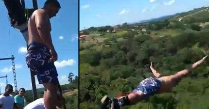 男子帶全家玩高空彈跳 縱身一跳錄下「繩子太長直接墜地」恐怖畫面