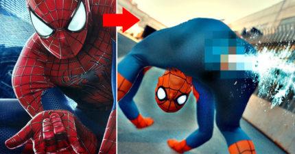 如果蜘蛛人像真的蜘蛛一樣是「用屁股噴絲」的話!0:20「屁屁射出」超噁惡棍後悔到死!(影片)