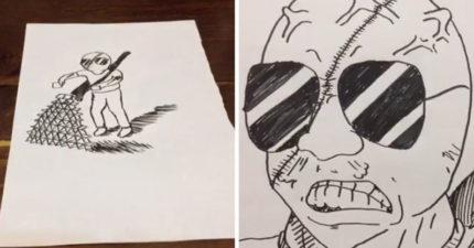 日本插畫家畫到一半,自己被紙飛出的子彈射死!(影片)