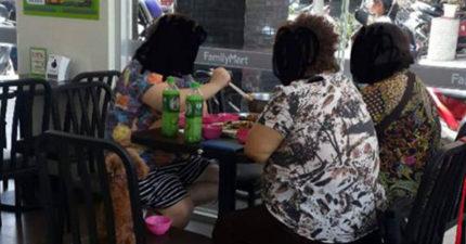 全家就是我家!大媽團「端2菜1湯」帶狗辦桌爽吹冷氣,「有買2罐綠茶」店員無奈...