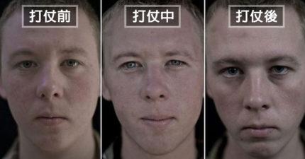 他拍下14名軍人「打仗前、中、後」的臉部變化,讓人看到戰爭對人類的重大傷害
