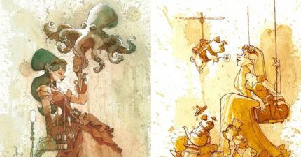 飄出茶香的畫!藝術家用3種茶創作「超現實復古畫作」,「先沉澱2小時」是成功關鍵!(33張)