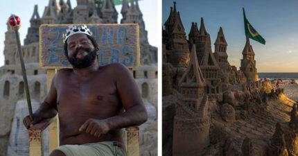 「海灘國王」22年來住沙堡,裡面只有「3平方公尺」但超實用!他嗆:花錢住海邊的人超蠢!(影片)