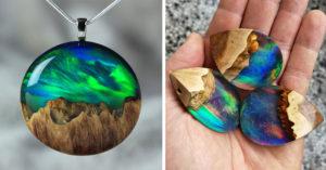 藝術家把木頭結合樹脂 設計「獨一無二美麗手工珠寶」(30個)