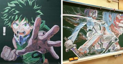 根本人體印刷機!高中生拿6支粉筆畫黑板 重現《我的英雄學院》超熱血❤