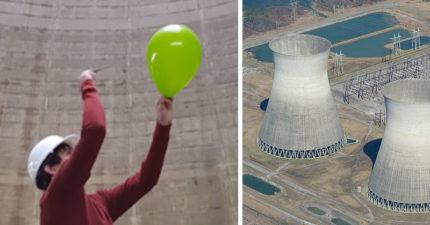 在廢棄核能發電廠裡面把氣球戳破 「震撼到像雷神降臨」
