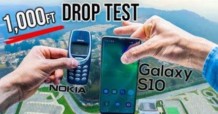 他測試把Samsung S10跟神機Nokia 3310從305公尺高丟下 摔完後狀態會差多少?