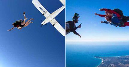 飛機開到一半驚覺「油箱沒油」4名乘客「緊急跳傘」 機長尷尬:忘了看另一邊!