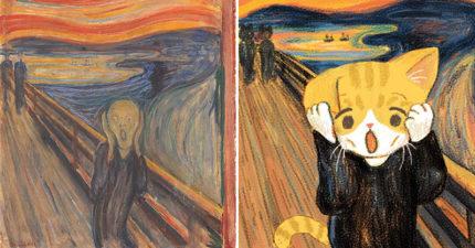 世界名畫意外「被喵星人闖入」在網路爆紅 「蒙娜麗貓的微笑」竟萌出新高度!