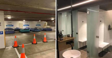 澳洲把停車場變「遊民避風港」還能洗澡 放滿「整齊單人床」只為睡一夜好覺!