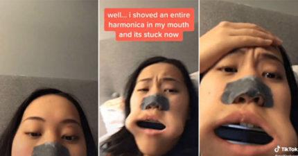 影/女高中生「特技吹口琴」玩到送醫院 整支「卡進嘴裡」先拍抖音再說!