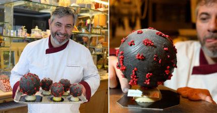 甜點大師「新冠病毒巧克力」造型太地獄 網見「店家地址」嘆:地點很諷刺!