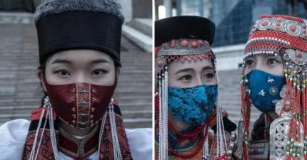 蒙古人「戴文化遺產」抵抗病毒 「皇族風口罩」絕對是世界最美