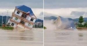 影/3層別墅「不敵洪水」整棟沉入水中 網嚇呆:不到5秒!