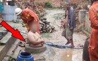 孝男幫忙埋枯井...不小心「自己插進去」村民嘆:幸好肚子夠大