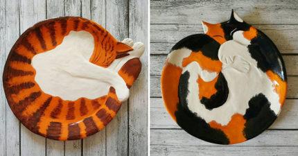 藝術家把「貓咪→陶瓷餐盤」超夢幻 黑貓版就是必買關鍵!
