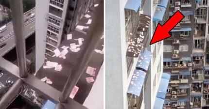 天空灑「百萬鈔票」引民眾瘋搶 警察到場傻眼:土豪太嗨了