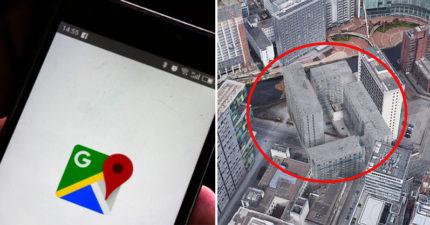 電影演真的?Google地圖出現「超毛靈異大樓」 卡在原本建築上