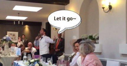 伴郎在婚禮上唱Let-It-Go