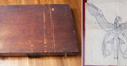 男子在垃圾桶找到古老盒子 打開後不小心發現「UFO接觸日記」設計圖!
