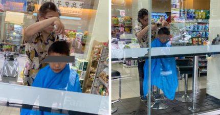 超商奇觀?大媽披圍巾自備工具「幫兒子剪髮」