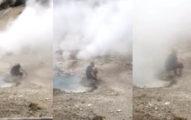 男大生跌進「恐怖溫泉」只掙扎2秒 妹妹拍下「身體溶解」過程